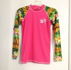 OP Pink Butterfly & Animal Print Rash Guard